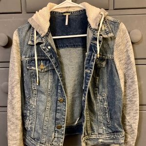 Free People Denim and Knit Jacket Size Small
